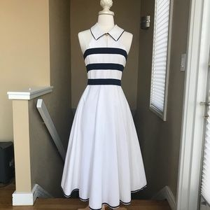 CHANEL Blue and White Vintage Cut Dress 34